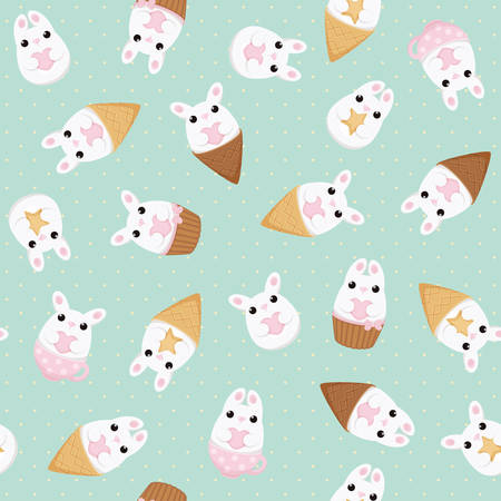 ice tea: Vector seamless pattern with white bunny with heart and star, ice cream, cake and tea cups. Abstract flat vintage design.