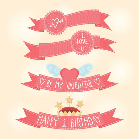 pink ribbons: Vector pink ribbons with Valentines day illustrations and typography elements