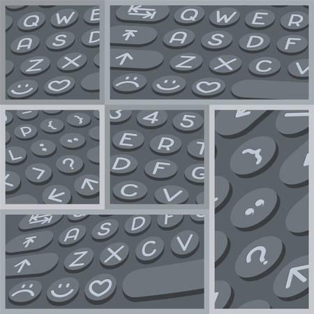 alphabet keyboard: Vector flat modern keyboard, alphabet round buttons. Material design