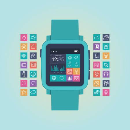 gadget: Smart watch flat vector illustration. Mobile gadget icon