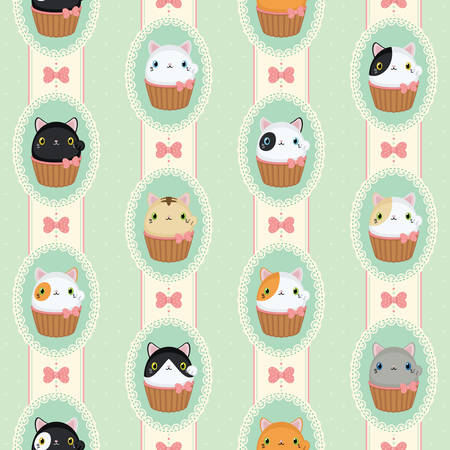 laced: Cute cupcake neko cats in laced frames. Vector pattern polka dots and stripes. Abstract flat vintage design.