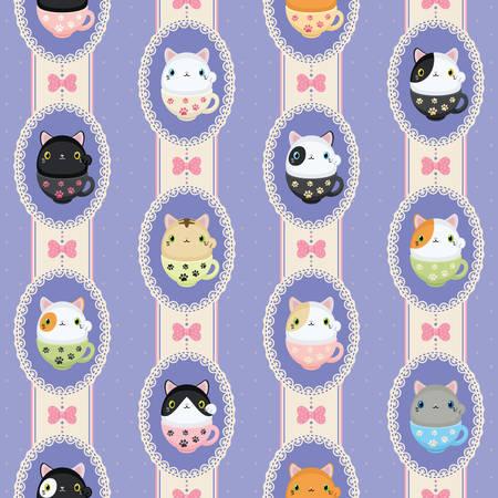 neko: Cute tea mug neko cats in laced frames. Vector pattern polka dots and stripes. Abstract flat vintage design.