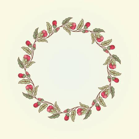 Vector fiori doodle epoca cornice rotonda per il testo