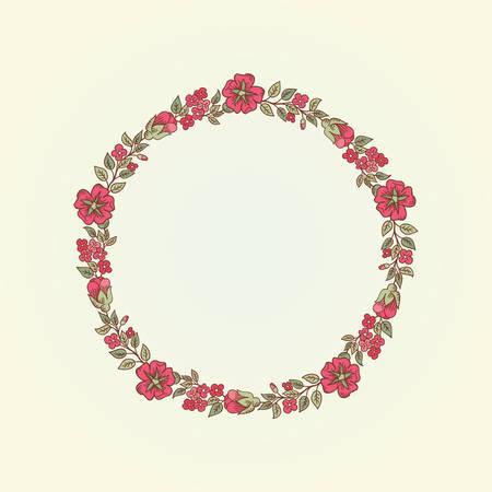 eglantine: Vector vintage doodle flowers round frame for text Illustration