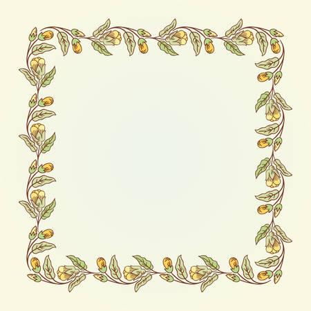 eglantine: Vector vintage doodle flowers square frame for text