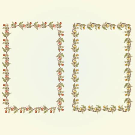 rectangle frame: Vector vintage doodle flowers rectangle frame for text Illustration