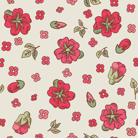 eglantine: Vector vintage doodle flower branches seamless pattern