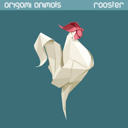 shape triangle: origami isolated animal. White triangle Rooster.