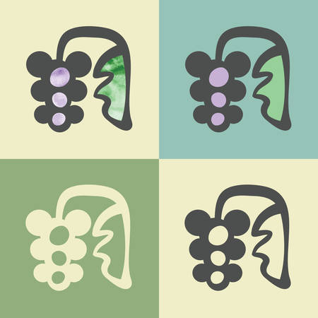 whortleberry: outline blueberry food icon with watercolor fill. Elements for mobile concepts and web apps. Modern info graphic and pictograph.
