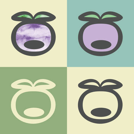 whortleberry: outline plum food icon with watercolor fill. Elements for mobile concepts and web apps. Modern info graphic and pictograph. Illustration