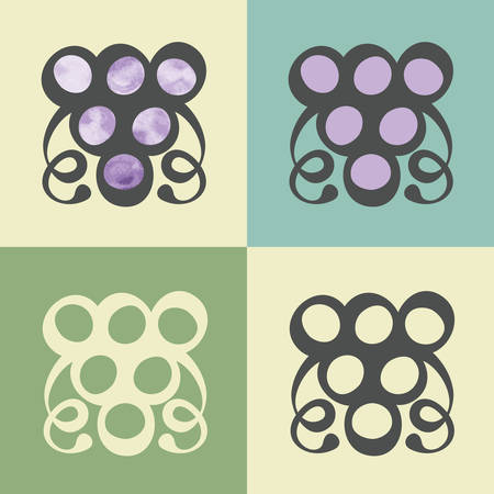 raceme: outline grapes food icon with watercolor fill. Elements for mobile concepts and web apps. Modern info graphic and pictograph.