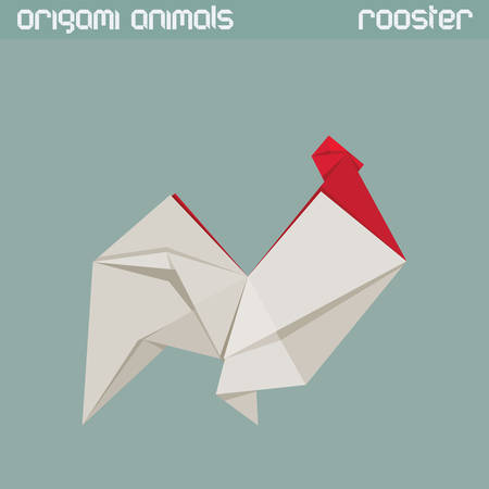 shape triangle: Vector origami isolated animal. White triangle Rooster.