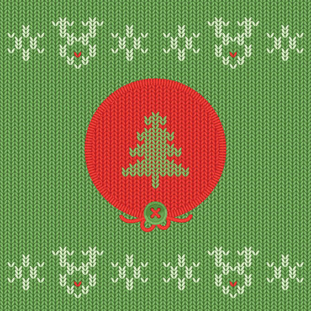 Christmas and New Year knitted round label with pine tree. Snowflake and Rudolf deer greeting card.