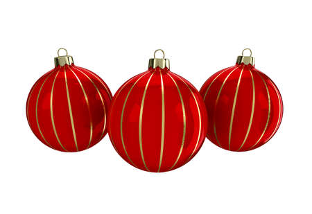 reflect: Vintage red decorative Christmas balls with gold reflect ornament. Isolated New Year image. 3D illustration. Stock Photo