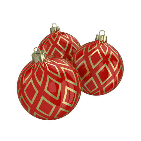 Vintage red decorative Christmas balls with gold reflect ornament. Isolated New Year image. 3D illustration. Stock Photo