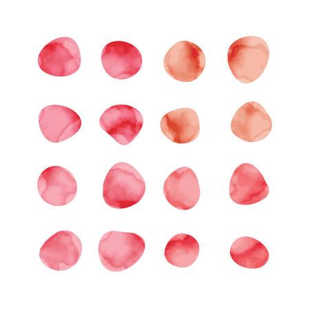 Vector rode aquarel vlekken. Gekleurde bloemblaadjes. Handgeschilderde cirkelsverzameling. Stock Illustratie