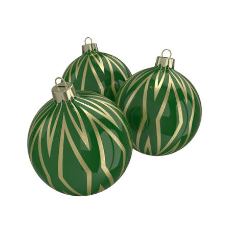 reflect: Vintage green decorative Christmas balls with gold reflect ornament. Isolated New Year image. 3D illustration.