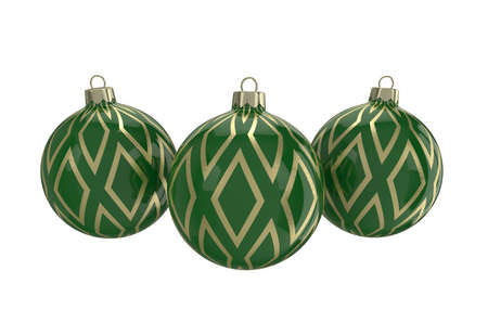 Vintage green decorative Christmas balls with gold reflect ornament. Isolated New Year image. 3D illustration.