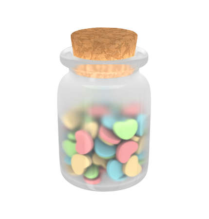 Isolated Closeup Of Medicine Glass Bottle With Cork Filled Different