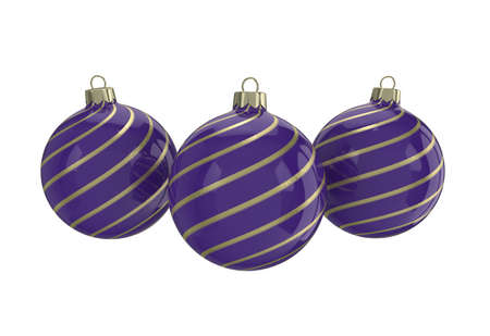 Vintage purple decorative Christmas balls with gold reflect ornament. Isolated New Year image. 3D illustration.