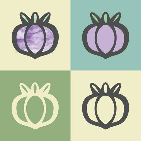 turnip: Vector outline onion food icon with watercolor fill. Elements for mobile concepts and web apps. Modern infographic logo and pictogram.