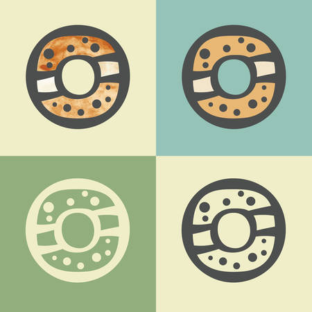 sinker: Vector outline donut food icon with watercolor fill. Elements for mobile concepts and web apps. Modern infographic logo and pictogram. Illustration