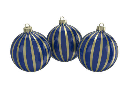 Vintage blue decorative Christmas balls with gold reflect ornament. Isolated New Year image. 3D illustration.