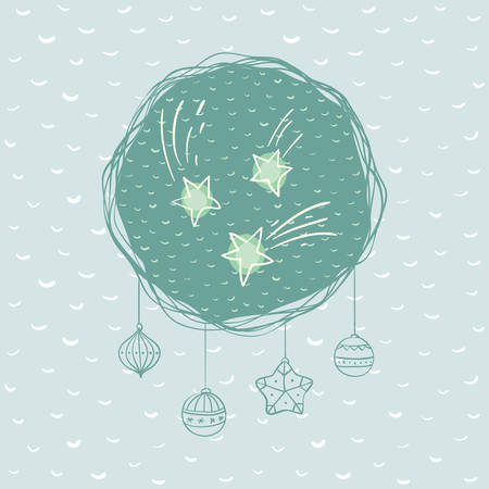 Christmas and New Year round frame with falling stars symbol. Doodle illustration greeting card. Illustration