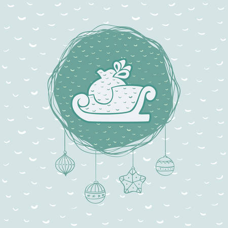 Christmas and New Year round frame with Santas sled with gift sack symbol. Doodle illustration greeting card.