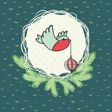 animal limb: Christmas and New Year round frame with little bird holding tree decoration in beak symbol. Doodle illustration greeting card.