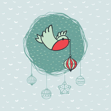Christmas and New Year round frame with little bird holding tree decoration in beak symbol. Doodle illustration greeting card.