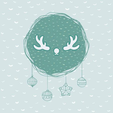 Christmas and New Year round frame with deer horns symbol. Doodle illustration greeting card.