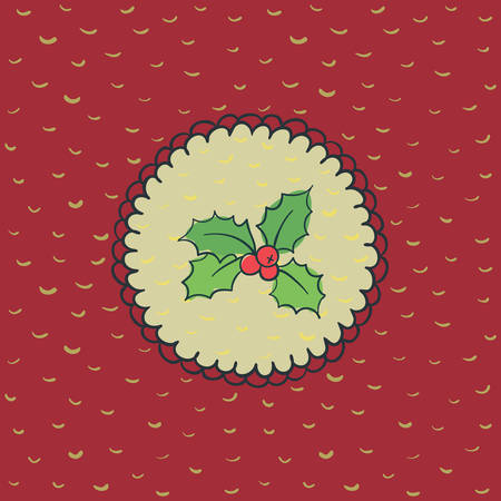 ilex: Christmas and New Year round frame with holly branch symbol. Doodle illustration greeting card.