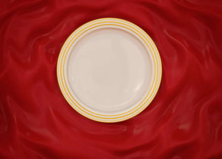lux: Empty round white glazed dish plate with simple shiny gold frame on folded red silk cloth fabric.