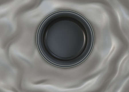 silver silk: Empty round glazed dish plate with simple shiny silver frame on folded red silk cloth fabric. Stock Photo