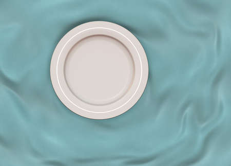 silver silk: Empty round white glazed dish plate with simple shiny silver frame on folded turquoise silk cloth fabric.