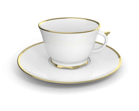 gilding: Isolated antique porcelain white tea cup on saucer with gold edging on white background. Vintage crockery. 3D Illustration. Stock Photo