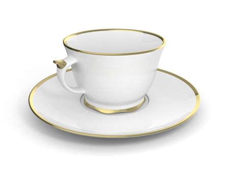 Isolated antique porcelain white tea cup on saucer with gold edging on white background. Vintage crockery. 3D Illustration. Standard-Bild