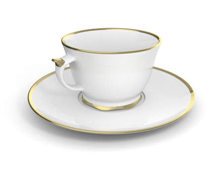 Isolated antique porcelain white tea cup on saucer with gold edging on white background. Vintage crockery. 3D Illustration. Stock Photo