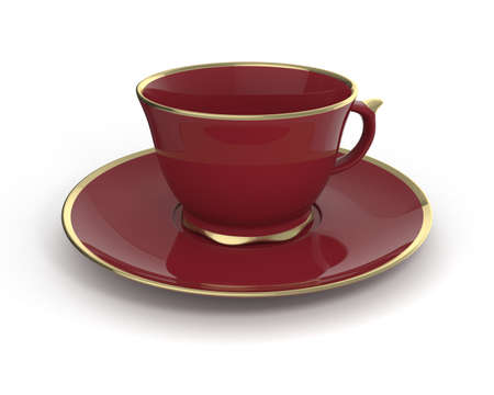 deluxe: Isolated antique porcelain vinous tea cup on saucer with gold edging on white background. Vintage crockery. 3D Illustration. Stock Photo