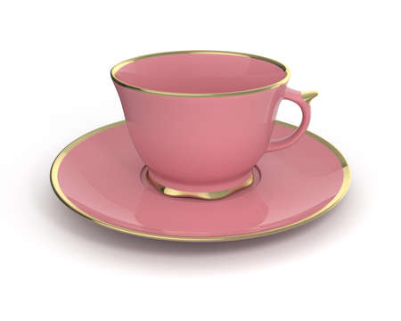 gilding: Isolated antique porcelain pink tea cup on saucer with gold edging on white background. Vintage crockery. 3D Illustration.