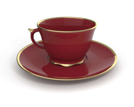 gilding: Isolated antique porcelain vinous tea cup on saucer with gold edging on white background. Vintage crockery. 3D Illustration. Stock Photo