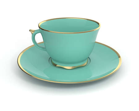gilding: Isolated antique porcelain turquoise tea cup on saucer with gold edging on white background. Vintage crockery. 3D Illustration.