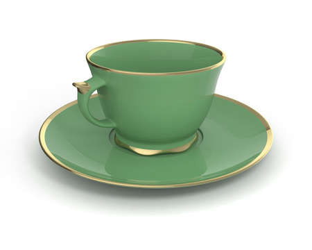 gilding: Isolated antique porcelain green tea cup on saucer with gold edging on white background. Vintage crockery. 3D Illustration.
