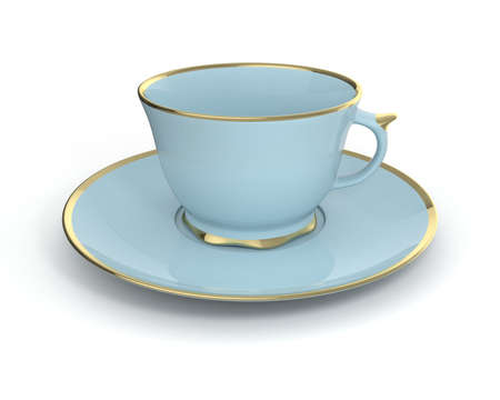Isolated antique porcelain light blue tea cup on saucer with gold edging on white background. Vintage crockery. 3D Illustration.