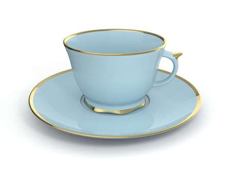 Isolierte antike Porzellan hellblau Tasse Tee auf Untertasse mit Gold auf weißem Hintergrund Borte. Vintage-Geschirr. Abbildung 3D.