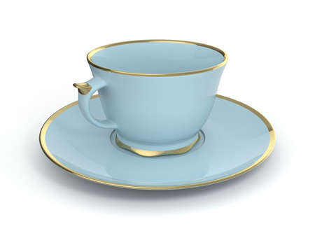 deluxe: Isolated antique porcelain light blue tea cup on saucer with gold edging on white background. Vintage crockery. 3D Illustration.