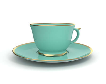 Isolated antique porcelain turquoise tea cup on saucer with gold edging on white background. Vintage crockery. 3D Illustration.