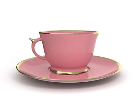 Isolated antique porcelain pink tea cup on saucer with gold edging on white background. Vintage crockery. 3D Illustration.
