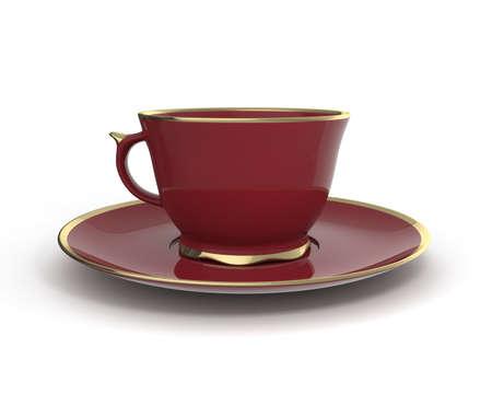 Isolierte antike Porzellan weinig Tasse Tee auf Untertasse mit Gold auf weißem Hintergrund Borte. Vintage-Geschirr. Abbildung 3D. Standard-Bild